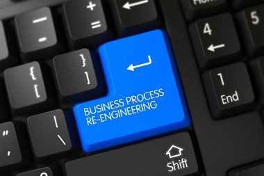 Keyboard with Blue Button - Business Process Re-Engineering. 3D.