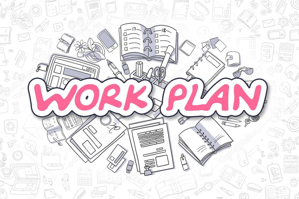 Work Plan  Cartoon Magenta Word Business Concept  Stock Photo