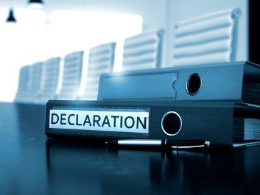 Declaration on File Folder. Blurred Image. 3D.