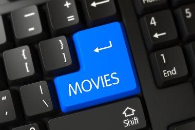 Blue Movies Keypad on Keyboard. 3D.