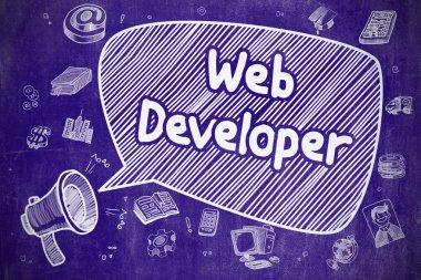 Web Developer - Hand Drawn Illustration on Blue Chalkboard.