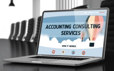 Accounting Consulting Services on Laptop in Meeting Room. 3D.