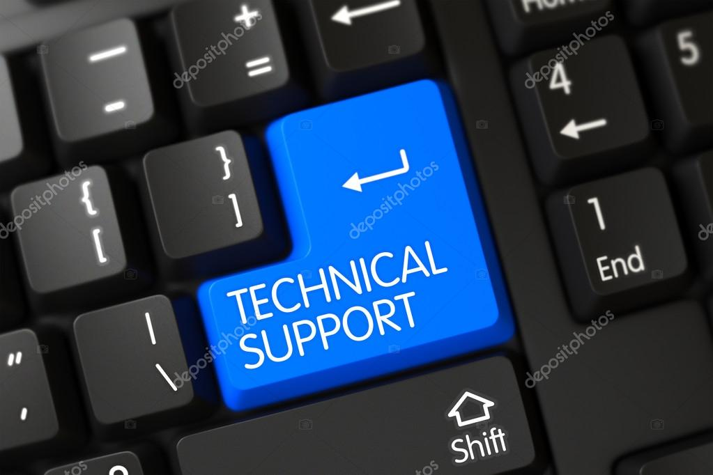 Keyboard with Blue Button - Technical Support. 3D.