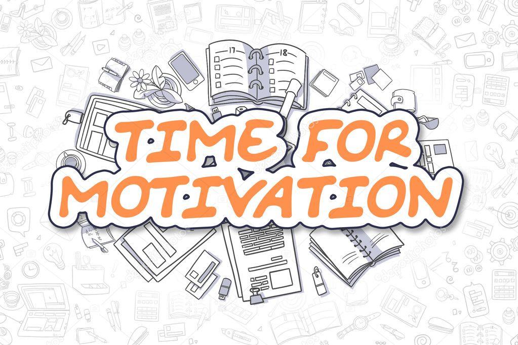 Dibujos Animados Texto Naranja: Tiempo Para La Motivación