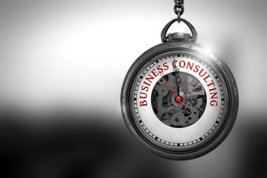 Business Consulting on Vintage Watch. 3D Illustration.