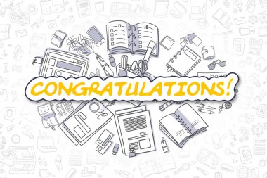 Congratulations - Doodle Yellow Text. Business Concept.
