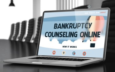 Bankruptcy Counseling Online on Laptop in Conference Hall. 3D.