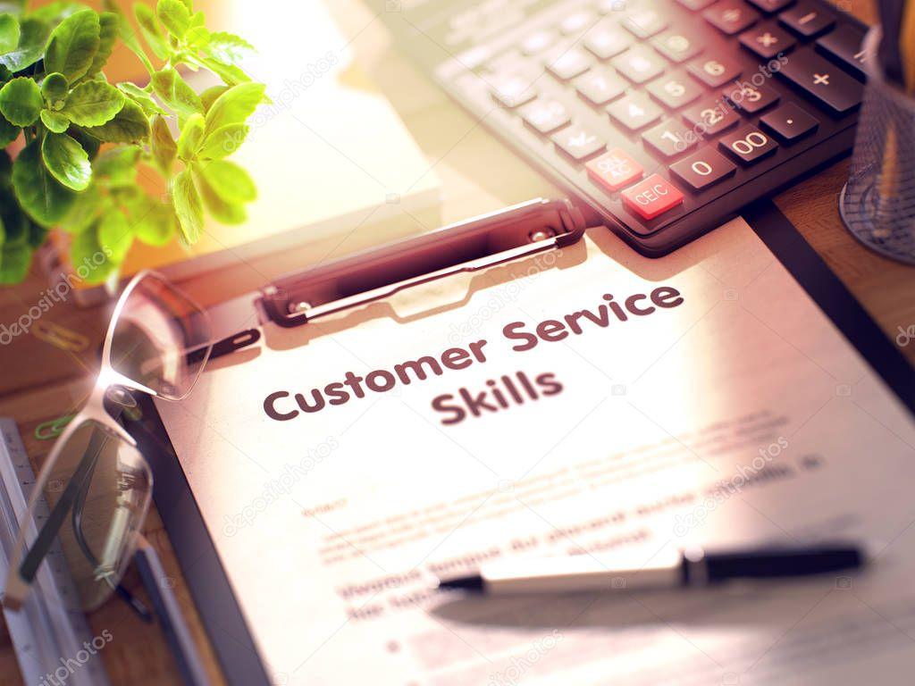 Portapapeles con el concepto de habilidades de servicio al cliente ...