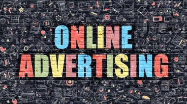 Online Advertising Concept. Multicolor on Dark Brickwall.