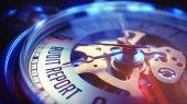 Audit Report - Wording on Vintage Pocket Clock. 3D Render.