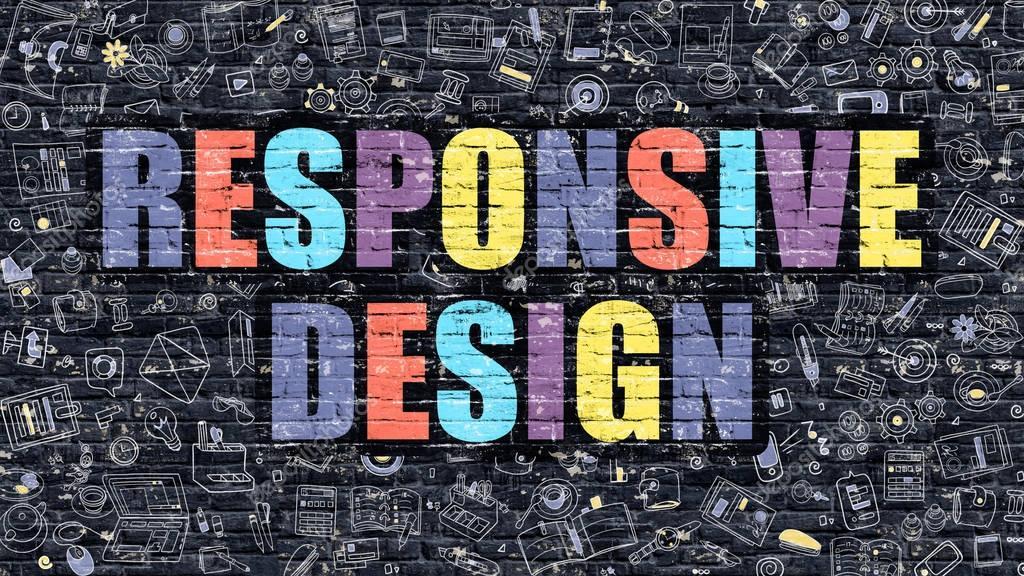 Graphic Design Muur : Responsive design op donkere bakstenen muur u2014 stockfoto