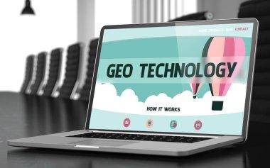 Geo Technology - on Laptop Screen. Closeup. 3D.