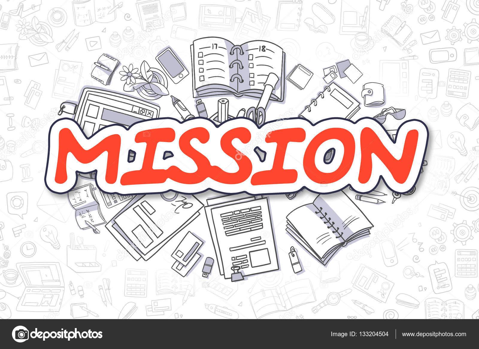 Dibujos De Las Misiones: Inscripción Rojo De Dibujos Animados. Concepto