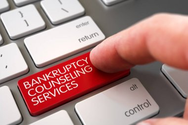 Hand Finger Press Bankruptcy Counseling Services Button. 3D.
