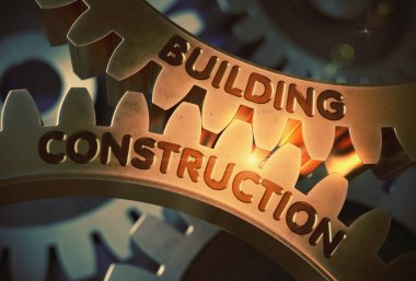 Building Construction on the Golden Gears. 3D Illustration.