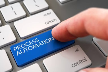 Hand Touching Process Automation Key. 3D.