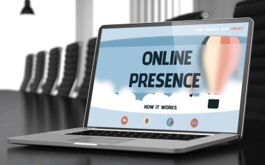 Online Presence on Laptop in Conference Hall. 3D.