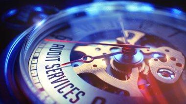 Audit Services - Inscription on Vintage Pocket Clock. 3D.