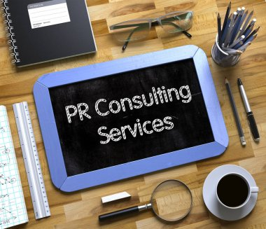 PR Consulting Services Concept on Small Chalkboard. 3D.
