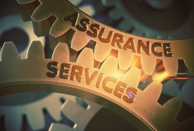 Assurance Services on Golden Gears. 3D Illustration.