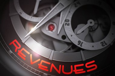 Revenues on the Luxury Men Wrist Watch Mechanism. 3D.