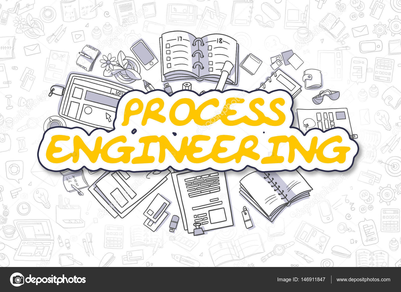 Process Engineering - Doodle Yellow Text. Business Concept. — Stock ...