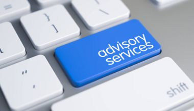 Advisory Services - Text on Blue Keyboard Button. 3D.
