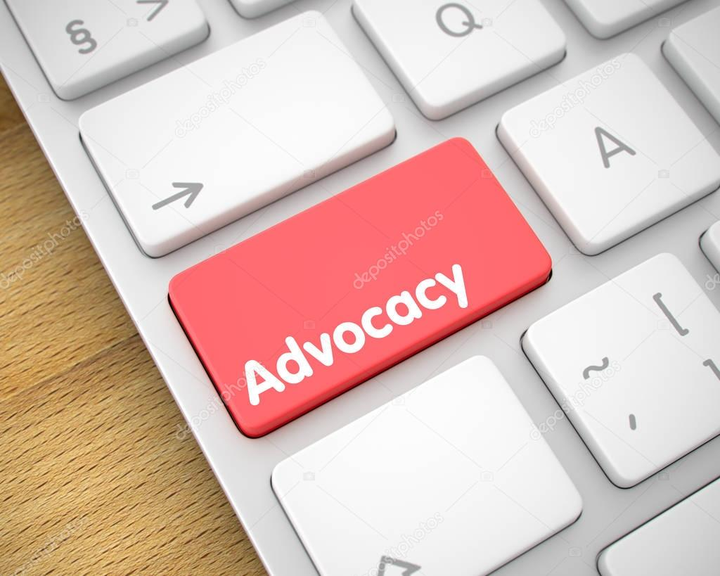 Advocacy - Text on Red Keyboard Keypad. 3D.