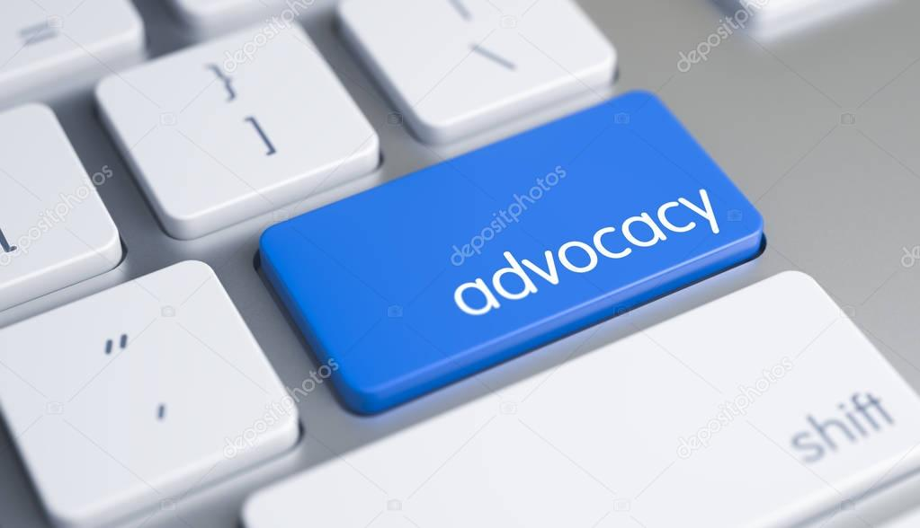 Advocacy - Inscription on Blue Keyboard Key. 3D.
