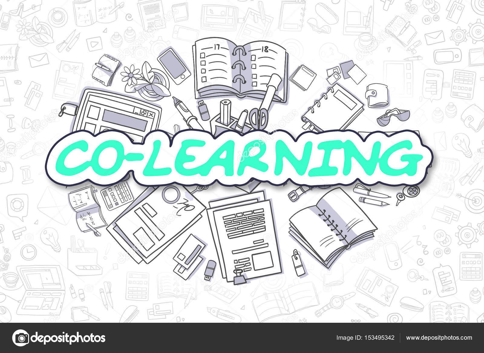 Spolecne Uceni Kresleny Zeleny Napis Obchodni Koncept Stock