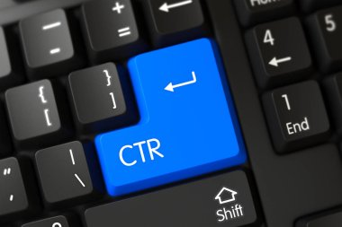 Keyboard with Blue Key - CTR. 3D.
