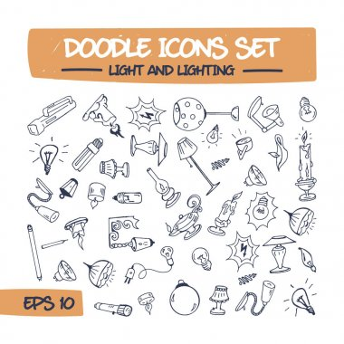 Doodle Icons Set of Lighting.