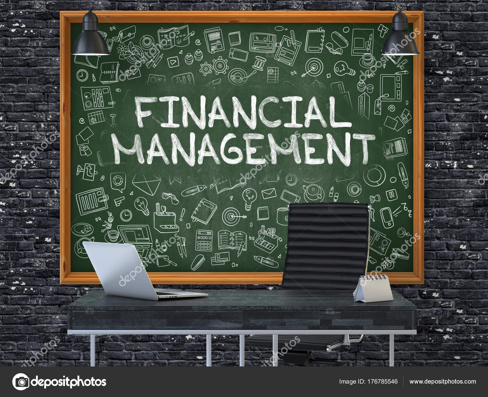 E Hand Drawn Financial Management On Office Chalkboard 3D U2014 Stock Photo