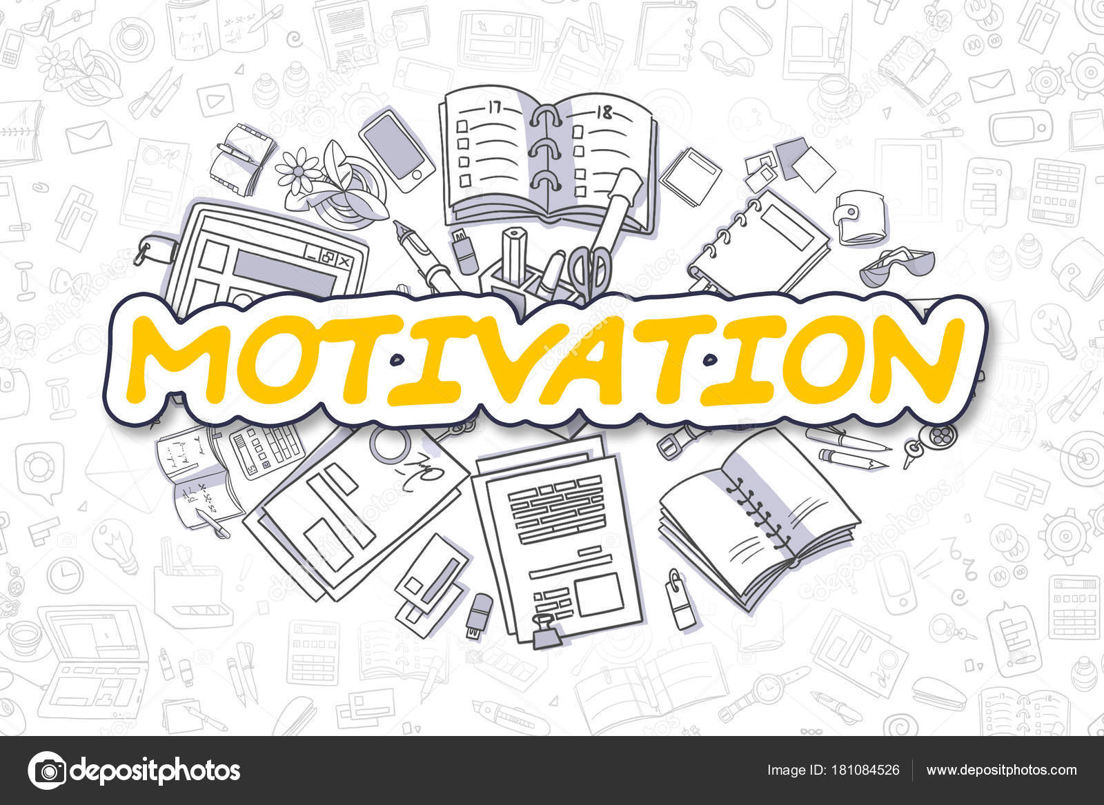 Motivation - Cartoon gelb Wort. Business-Konzept — Stockfoto ...