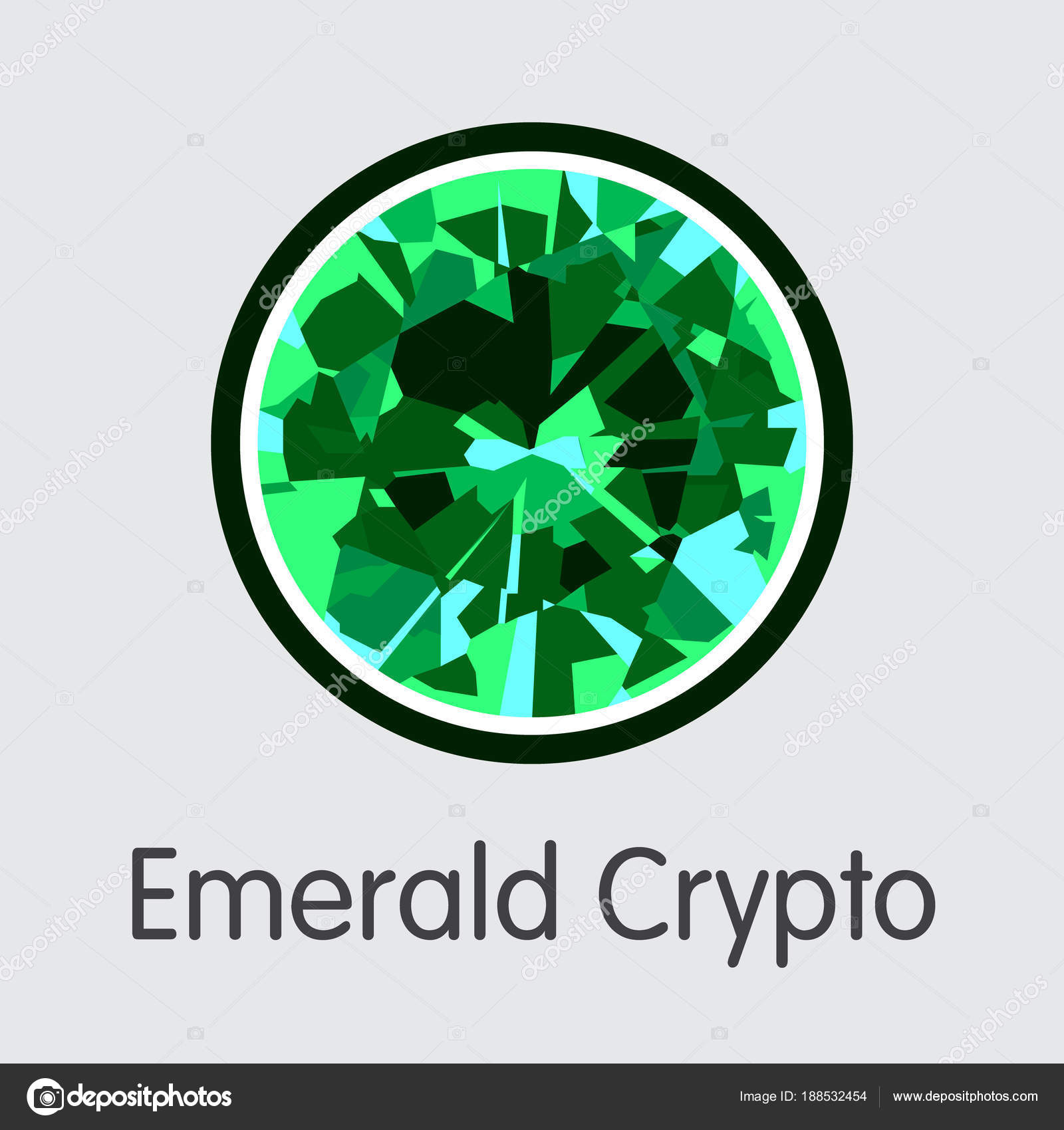 Emerald Crypto Crypto Currency Coin Symbol Stock Vector
