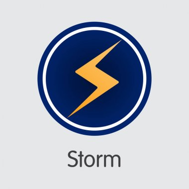 Storm Crypto Currency. Vector STORM Coin Illustration.