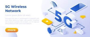 5G Network Wireless Technology Vector Illustration. Web Page Template.