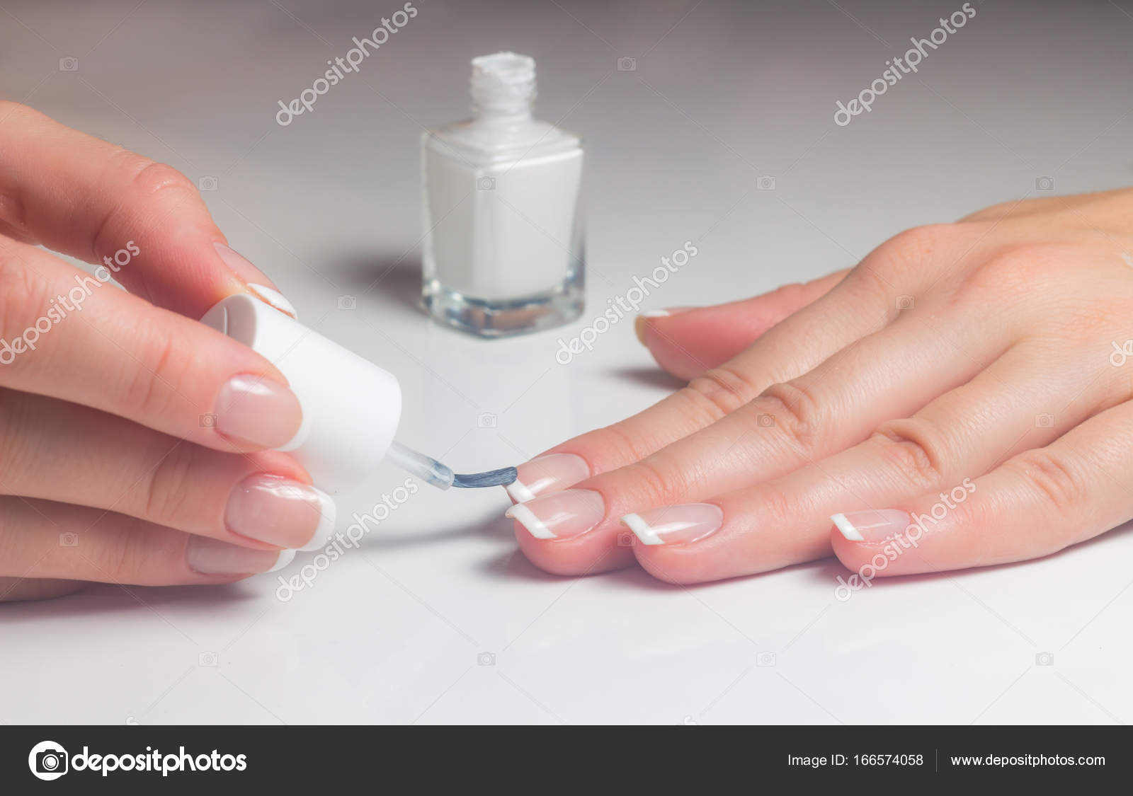 Manicure. French manicure. Nail polish.Paint your nails. — Stock ...