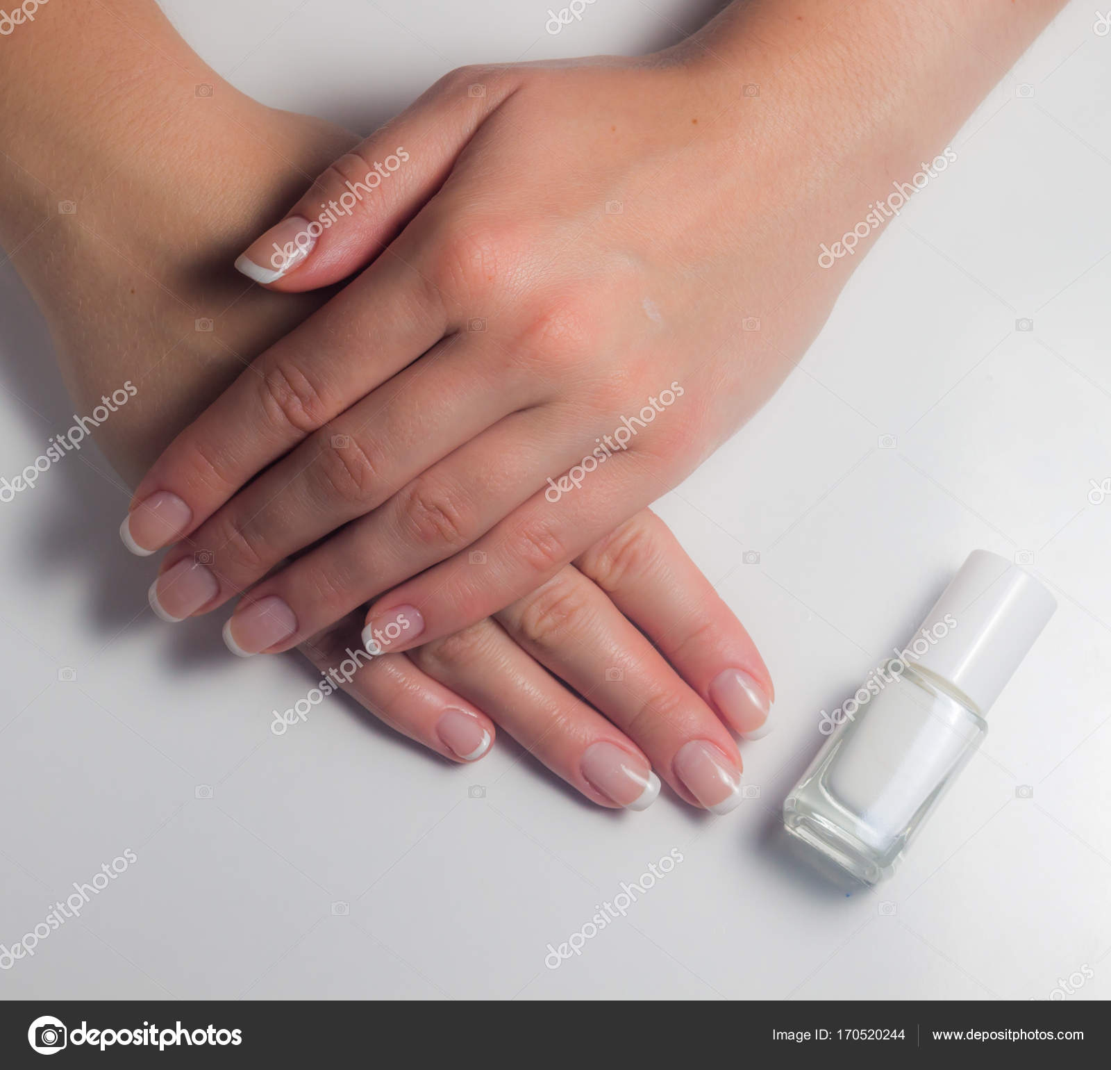 Manicure. French manicure. Nail polish. Paint your nails. — Stock ...