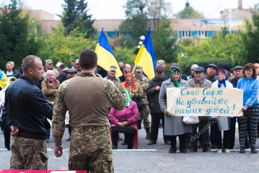 Protest action in the Ukrainian town in the Cherkasy region on October 2, 2017
