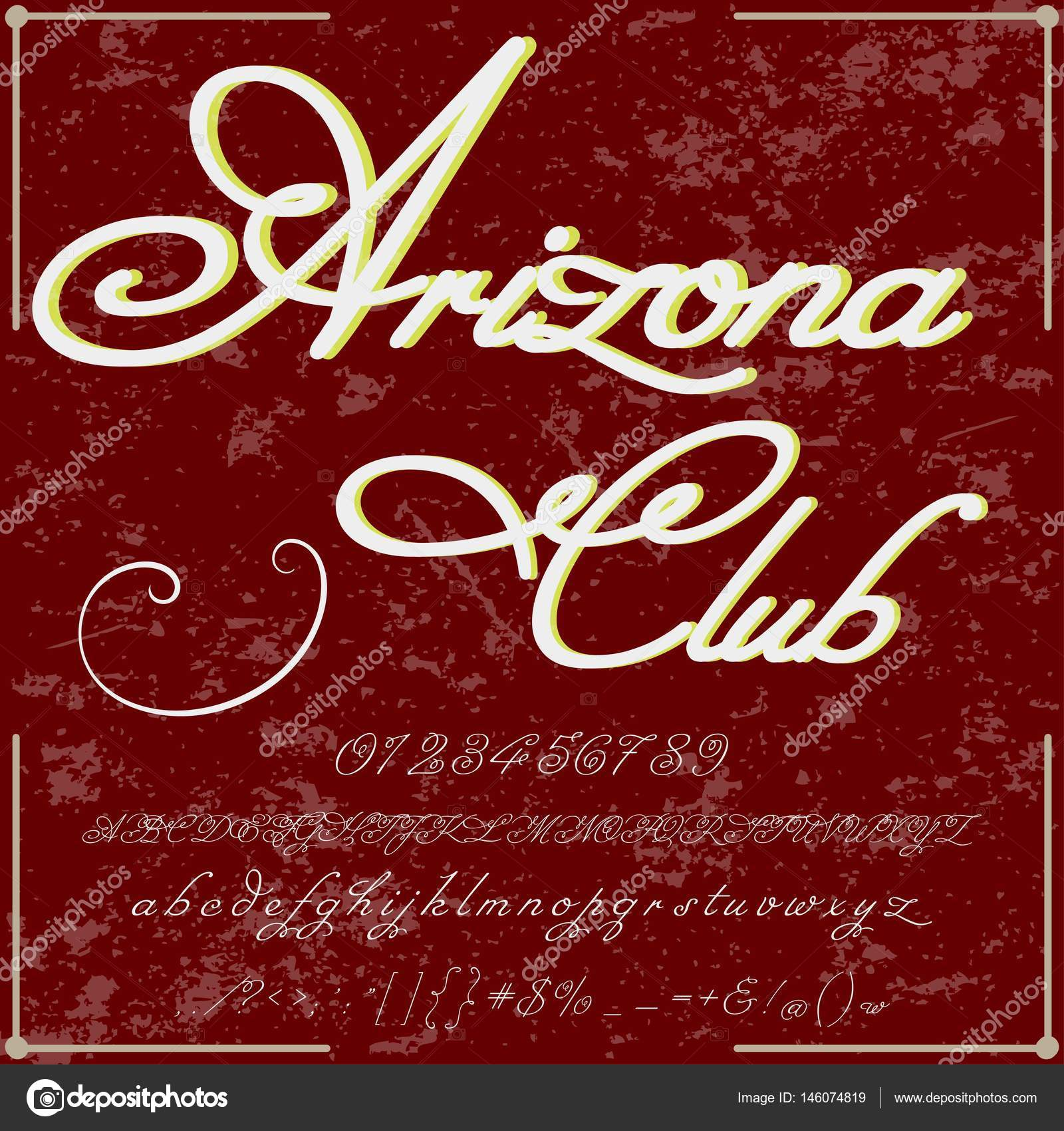 Font Script Typeface arizona club Vintage frame label design ...