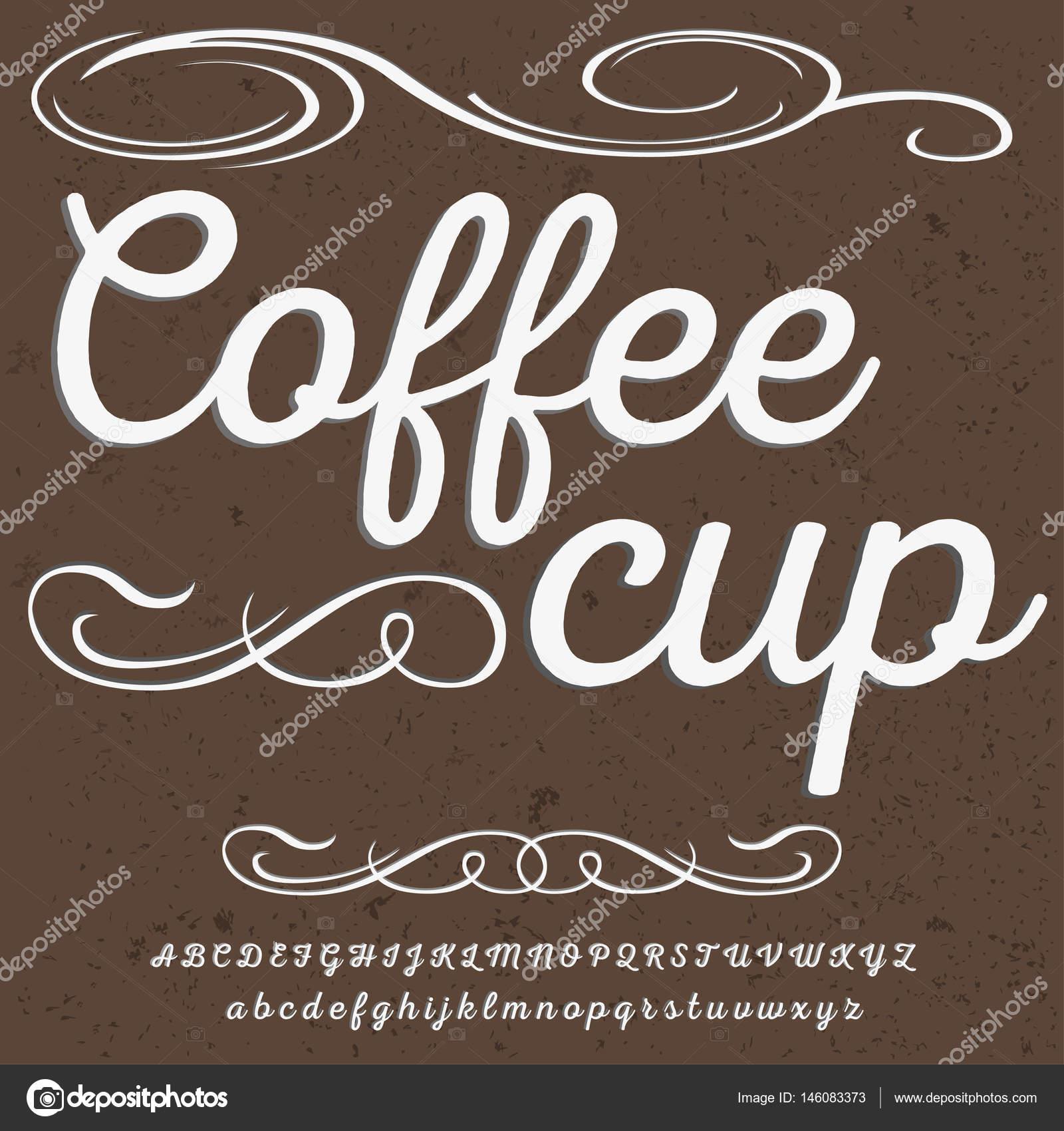 Fuente tipo de letra Script vintage taza de café script fuente ...