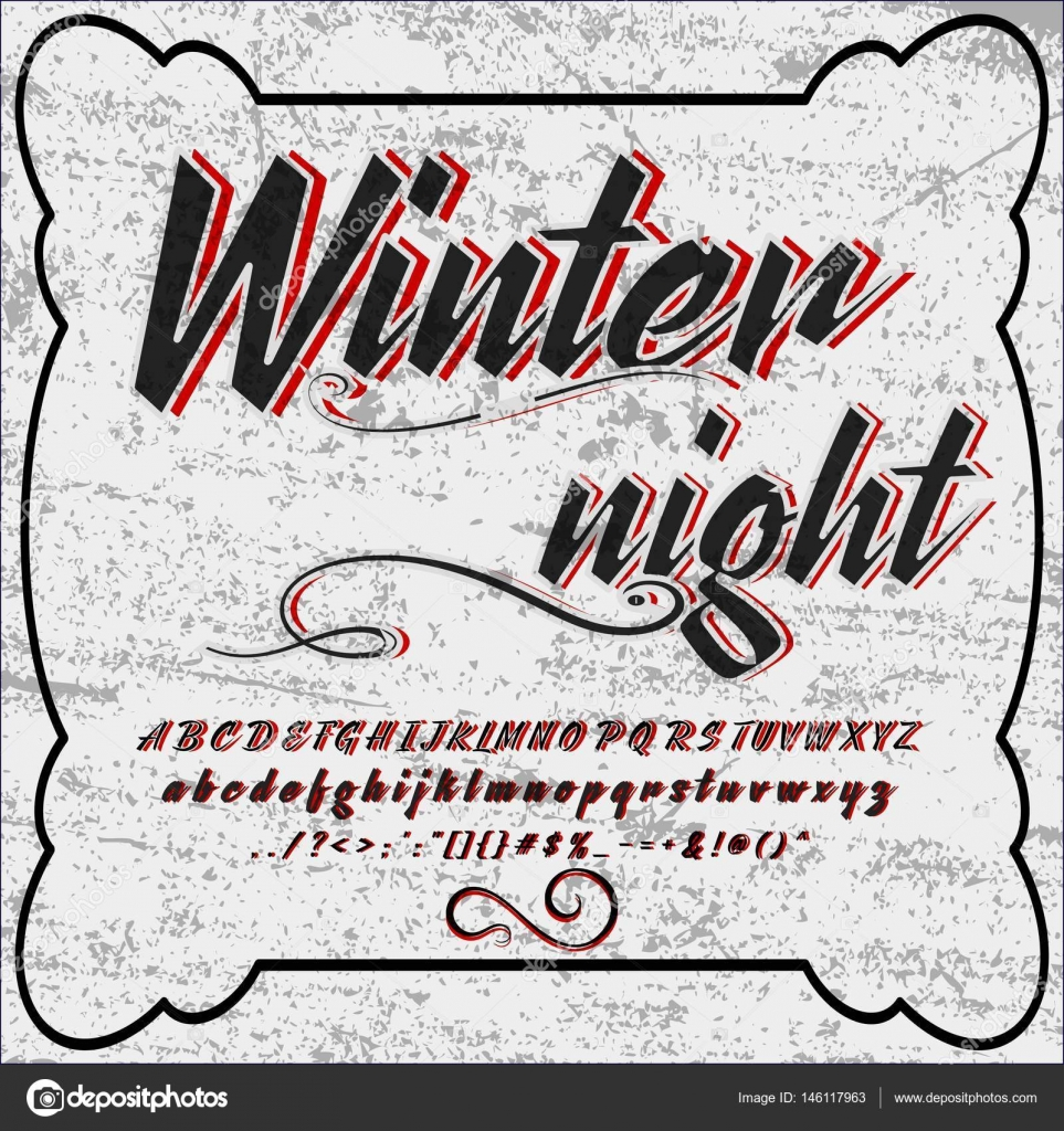 Hand Drawn Typeface Set Named Winter Night Brush Painted Characters Lowercase And Uppercase Handwritten Script Font Typography Alphabet For Your Designs