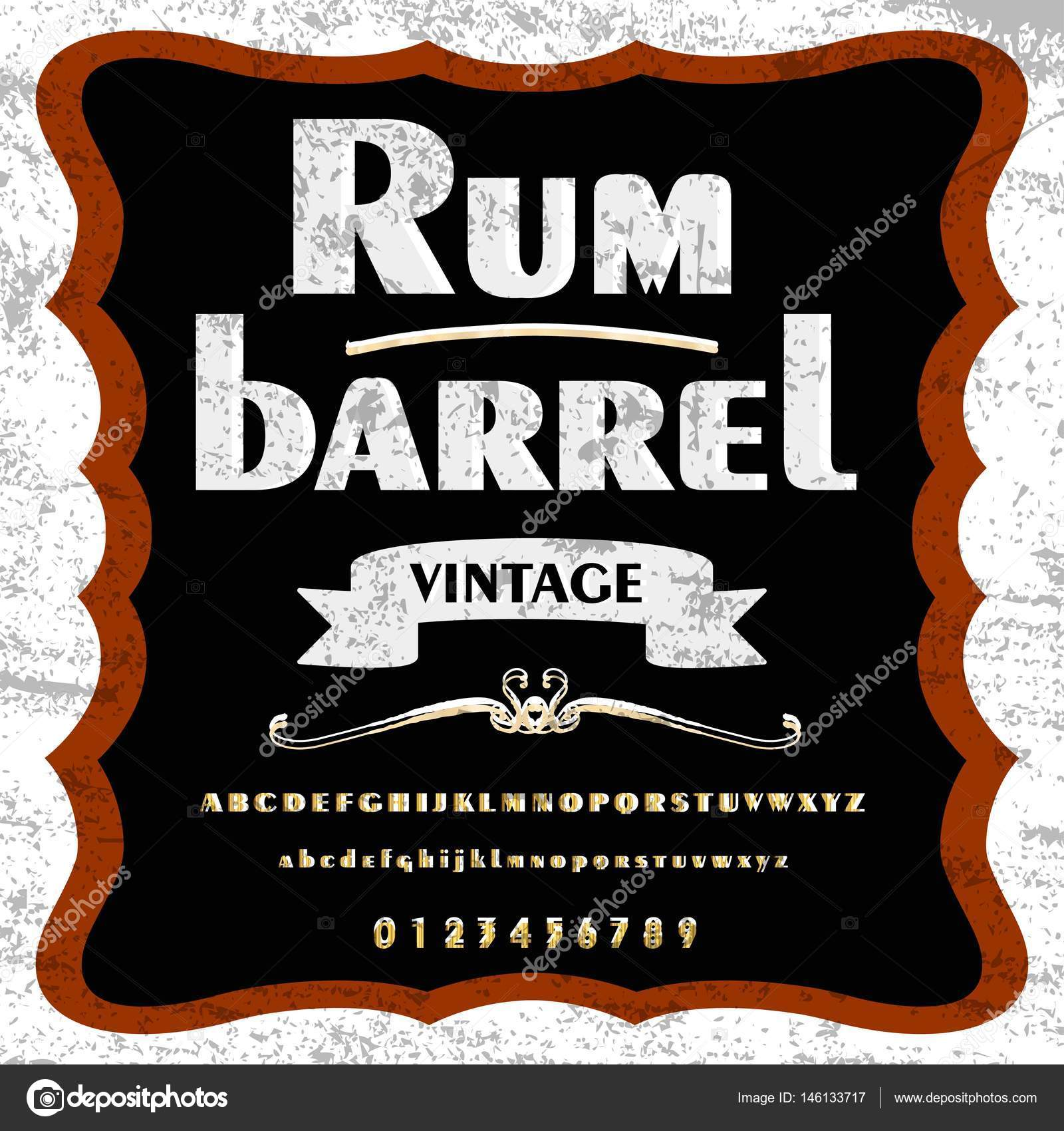 Rum barrel Script Typeface Font Vintage frame label design