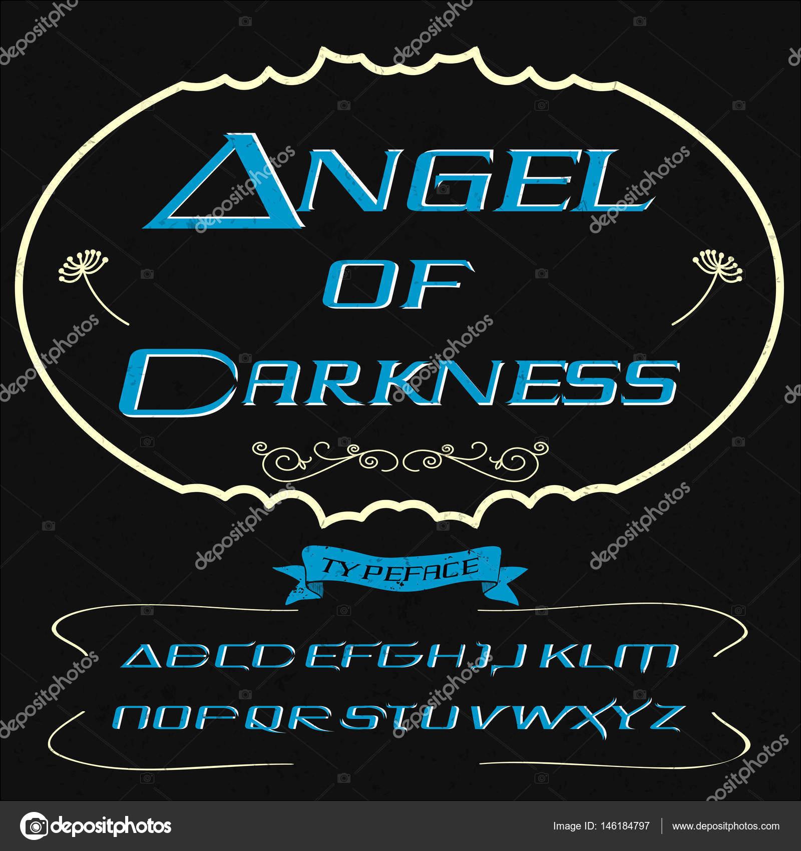 Font Script Typeface Angel Of Darkness Vintage Script Font Vector