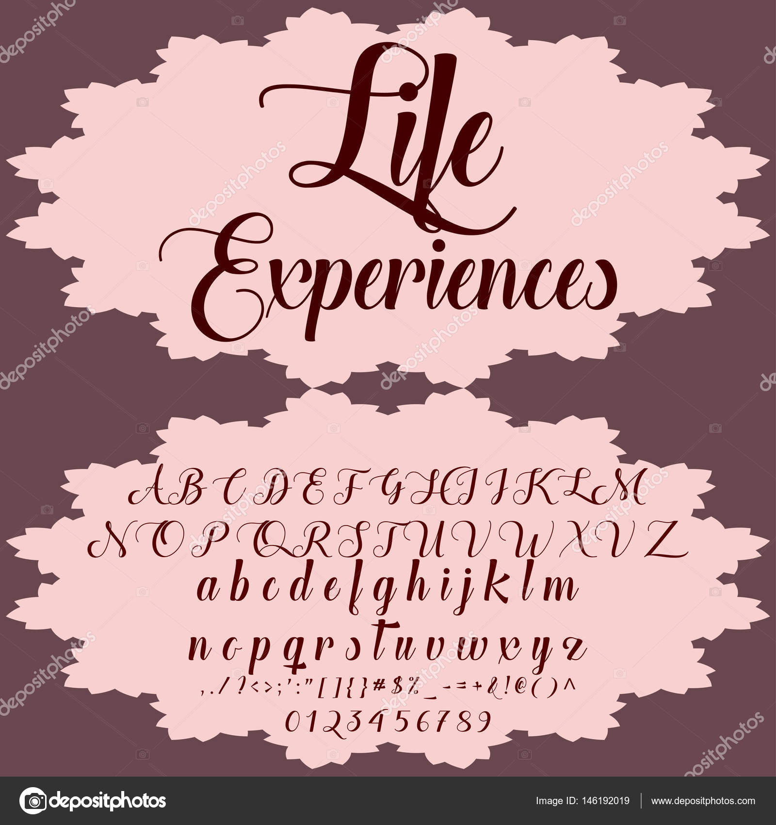 Hand drawn typeface set named Life Experiences Brush-painted