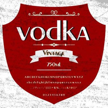 Vodka Font Script Typeface  Vintage frame label- design, Whiskey and Wine label, Restaurant, Beer label. Vector- illustration
