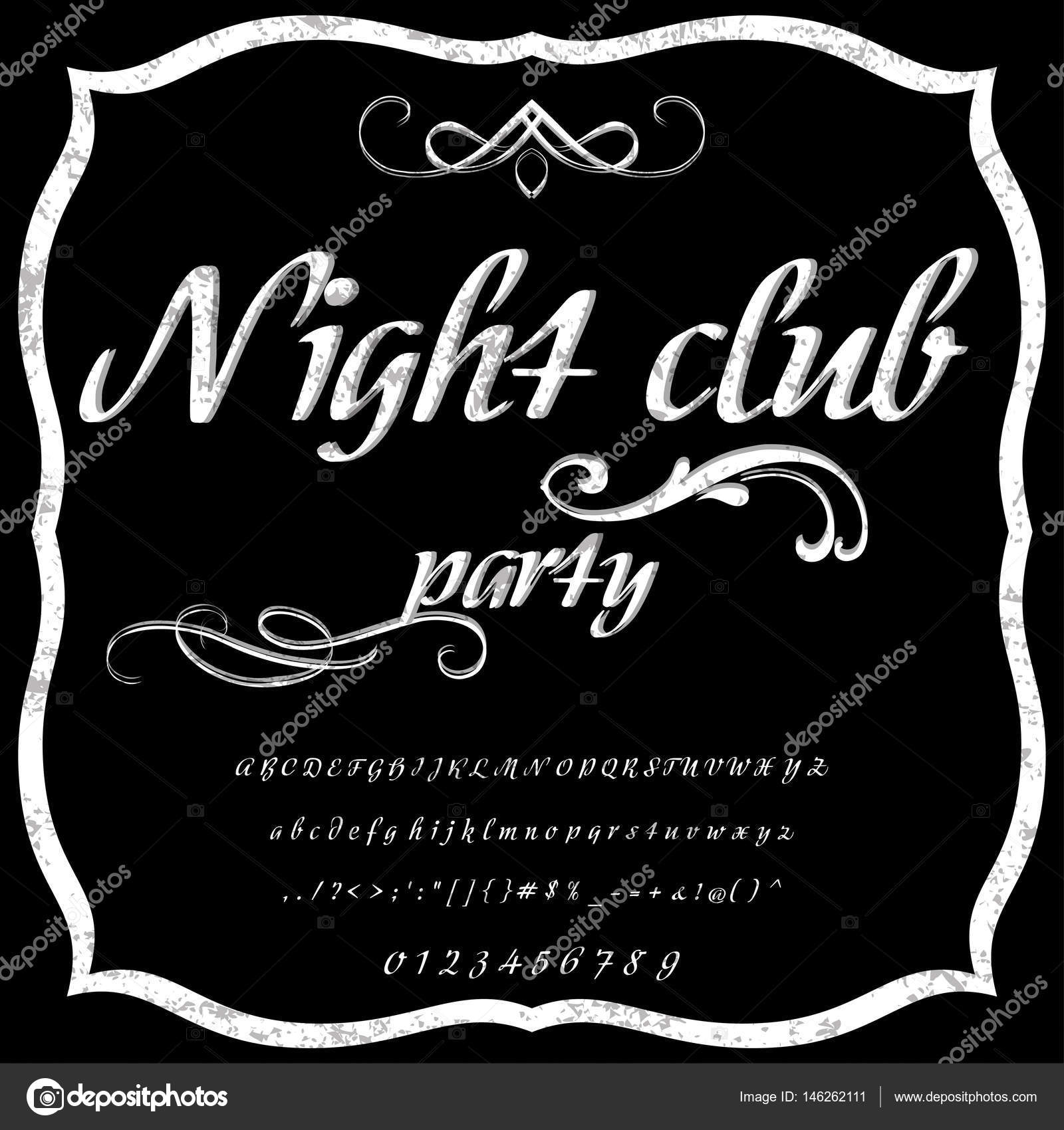 Handwritten calligraphy font named Night club -Typeface