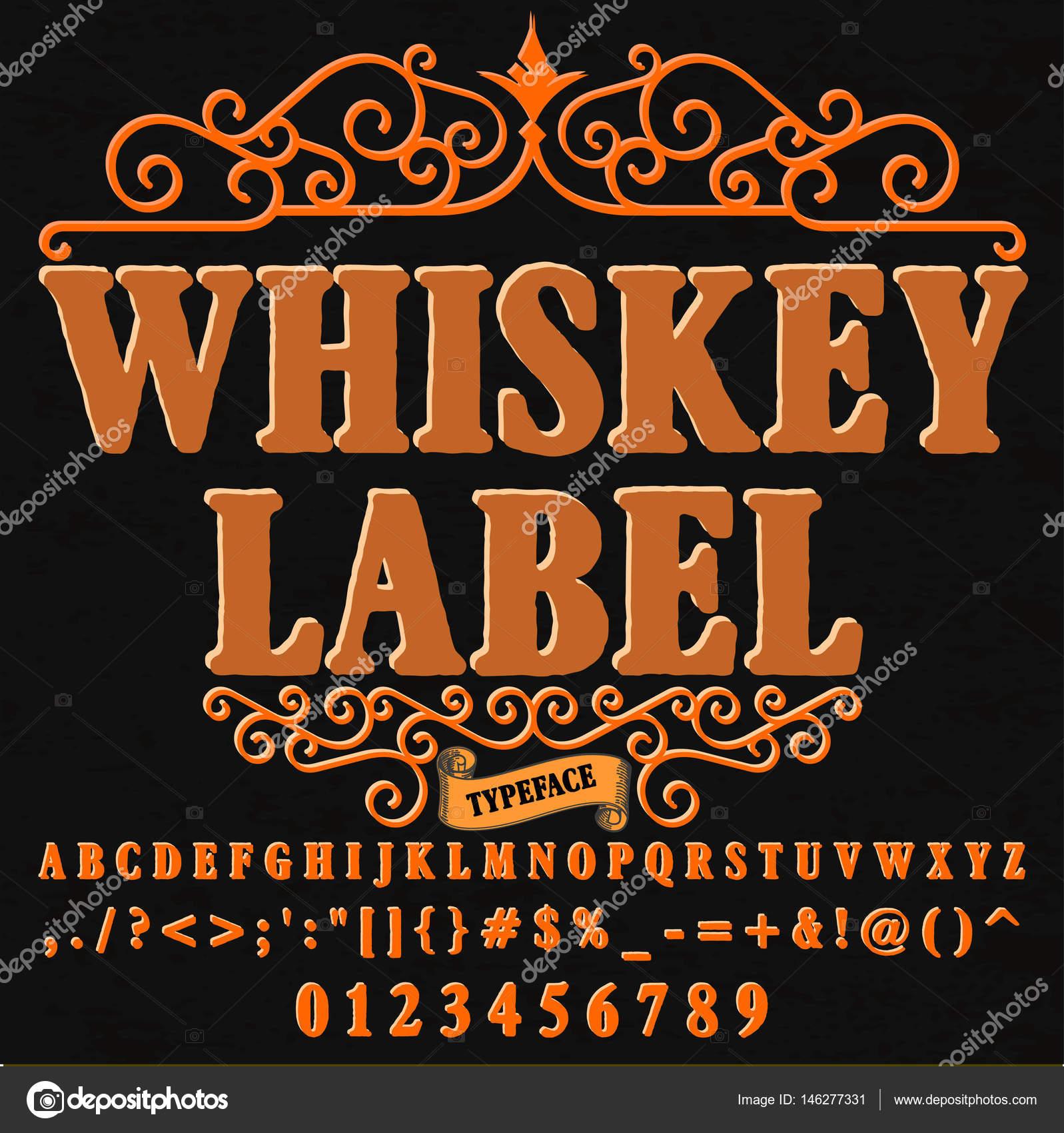 Script Font Tipografía Whisky Etiqueta Vintage Script Fuente