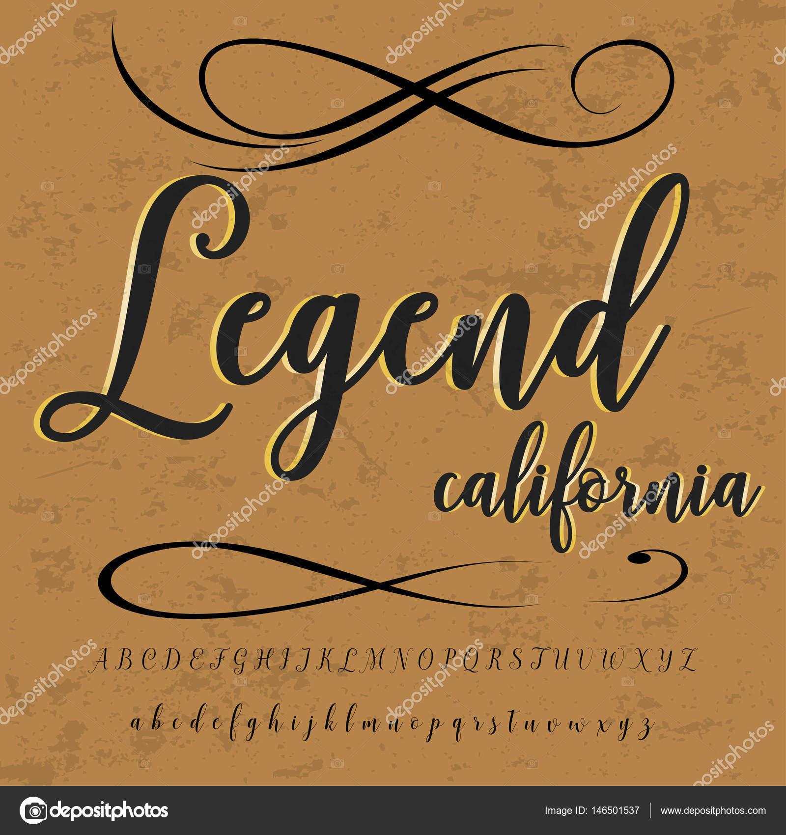 Script Font Typeface vintage legend california script font